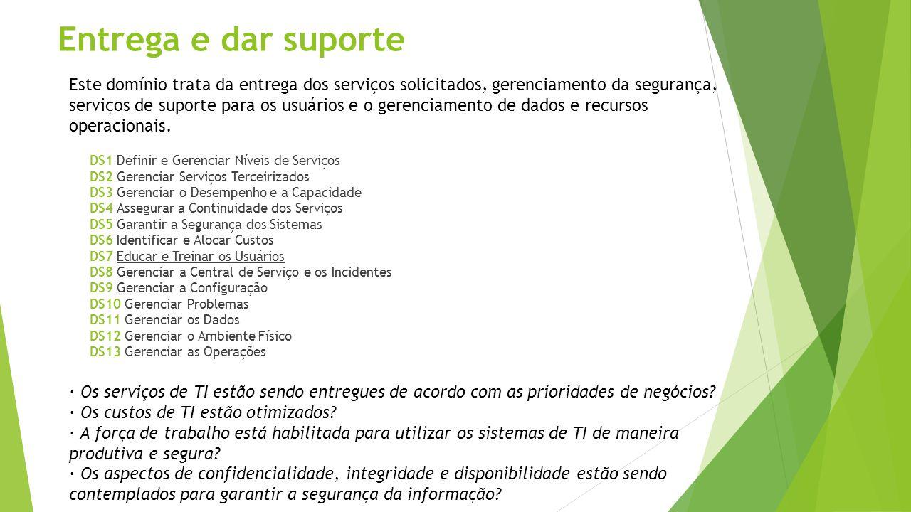 Entrega e dar suporte DS1 Definir e Gerenciar Níveis de Serviços DS2 Gerenciar Serviços Terceirizados DS3 Gerenciar o Desempenho e a Capacidade DS4 As
