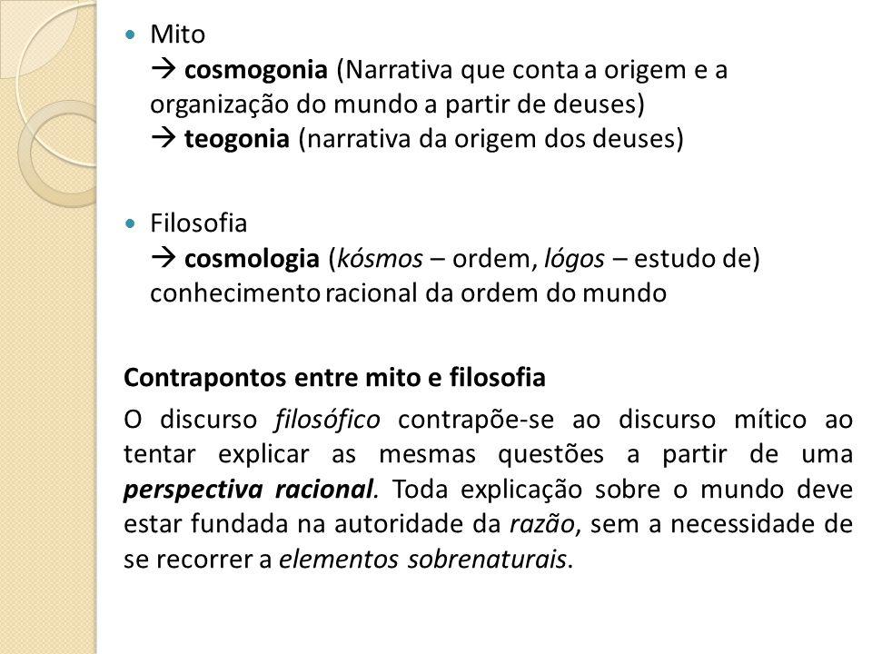 Mito cosmogonia (Narrativa que conta a origem e a organização do mundo a partir de deuses) teogonia (narrativa da origem dos deuses) Filosofia cosmolo