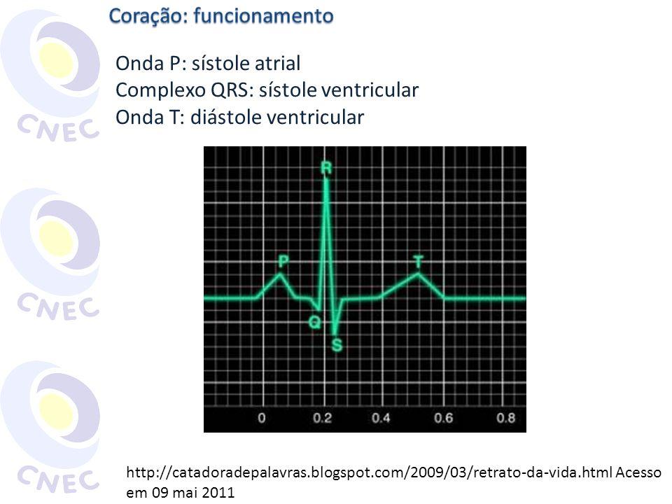 http://catadoradepalavras.blogspot.com/2009/03/retrato-da-vida.html Acesso em 09 mai 2011 Onda P: sístole atrial Complexo QRS: sístole ventricular Ond
