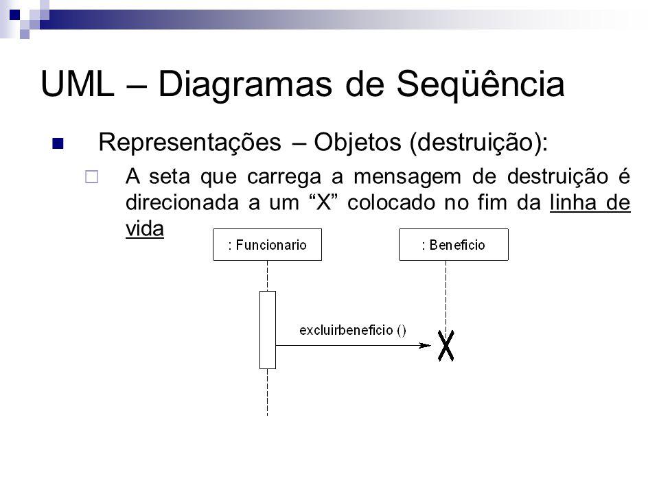 UML – Diagramas de Seqüência Representações – Objetos (destruição): A seta que carrega a mensagem de destruição é direcionada a um X colocado no fim da linha de vida