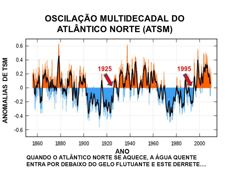 ANOMALIAS DE TSM ANO OSCILAÇÃO MULTIDECADAL DO ATLÂNTICO NORTE (ATSM) 19951925 QUANDO O ATLÂNTICO NORTE SE AQUECE, A ÁGUA QUENTE ENTRA POR DEBAIXO DO GELO FLUTUANTE E ESTE DERRETE....
