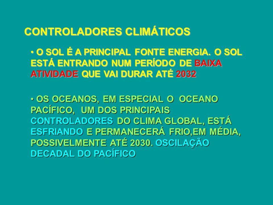 CONTROLADORES CLIMÁTICOS OS OCEANOS, EM ESPECIAL O OCEANO PACÍFICO, UM DOS PRINCIPAIS CONTROLADORES DO CLIMA GLOBAL, ESTÁ ESFRIANDO E PERMANECERÁ FRIO,EM MÉDIA, POSSIVELMENTE ATÉ 2030.