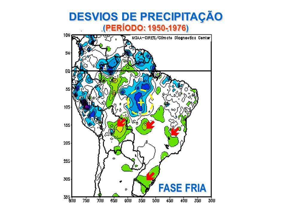 DESVIOS DE PRECIPITAÇÃO (PERÍODO: 1950-1976) FASE FRIA +