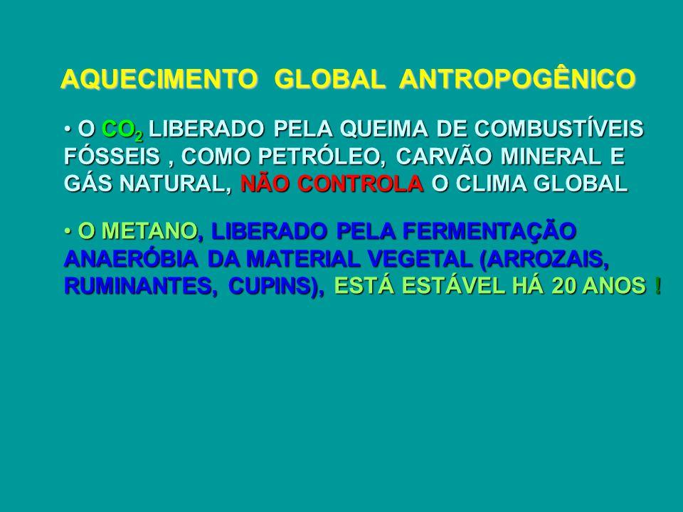 AQUECIMENTO GLOBAL ANTROPOGÊNICO O CO 2 LIBERADO PELA QUEIMA DE COMBUSTÍVEIS FÓSSEIS, COMO PETRÓLEO, CARVÃO MINERAL E GÁS NATURAL, NÃO CONTROLA O CLIMA GLOBAL O CO 2 LIBERADO PELA QUEIMA DE COMBUSTÍVEIS FÓSSEIS, COMO PETRÓLEO, CARVÃO MINERAL E GÁS NATURAL, NÃO CONTROLA O CLIMA GLOBAL O METANO, LIBERADO PELA FERMENTAÇÃO ANAERÓBIA DA MATERIAL VEGETAL (ARROZAIS, RUMINANTES, CUPINS), ESTÁ ESTÁVEL HÁ 20 ANOS .
