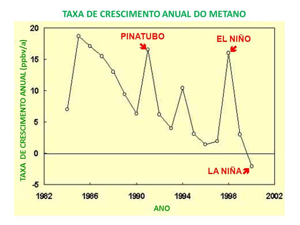 TAXA DE CRESCIMENTO ANUAL (ppbv/a) LA NIÑA EL NIÑO PINATUBO TAXA DE CRESCIMENTO ANUAL DO METANO