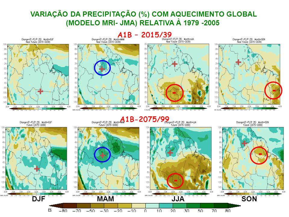 DJFMAMJJASON A1B – 2015/39 A1B-2075/99 + + + + + + + + - - - VARIAÇÃO DA PRECIPITAÇÃO (%) COM AQUECIMENTO GLOBAL (MODELO MRI- JMA) RELATIVA À 1979 -2005 -