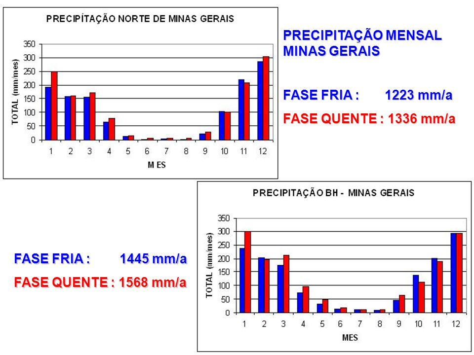 PRECIPITAÇÃO MENSAL MINAS GERAIS FASE FRIA : 1223 mm/a FASE QUENTE : 1336 mm/a FASE FRIA : 1445 mm/a FASE QUENTE : 1568 mm/a