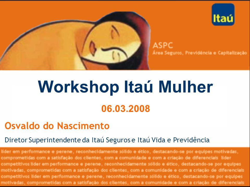 Workshop Itaú Mulher 06.03.2008 Osvaldo do Nascimento Diretor Superintendente da Itaú Seguros e Itaú Vida e Previdência