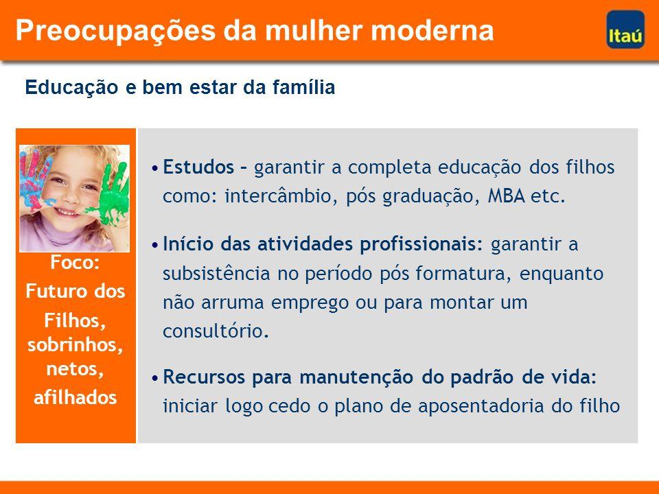 Foco: Futuro dos Filhos, sobrinhos, netos, afilhados Estudos – garantir a completa educação dos filhos como: intercâmbio, pós graduação, MBA etc. Iníc