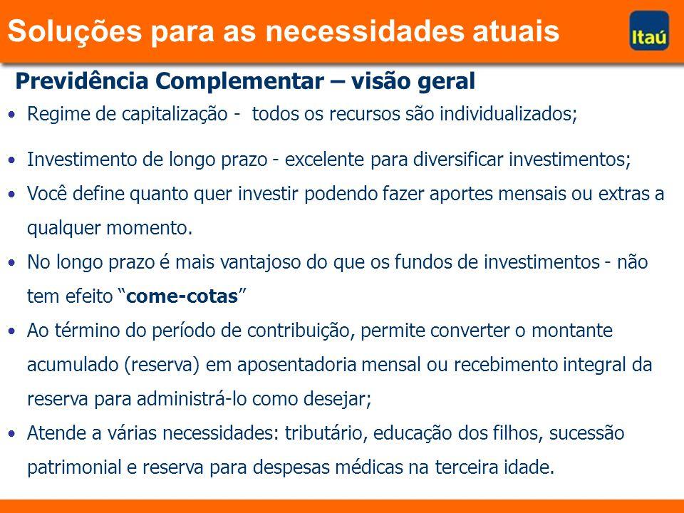 Previdência Complementar – visão geral Regime de capitalização - todos os recursos são individualizados; Investimento de longo prazo - excelente para