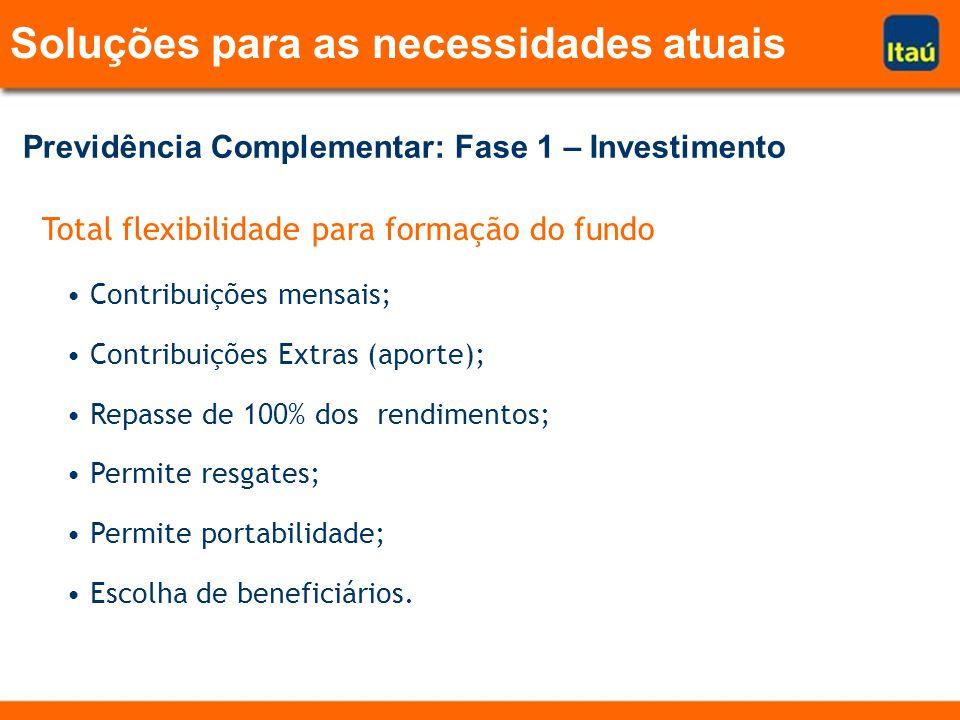 Total flexibilidade para formação do fundo Contribuições mensais; Contribuições Extras (aporte); Repasse de 100% dos rendimentos; Permite resgates; Permite portabilidade; Escolha de beneficiários.
