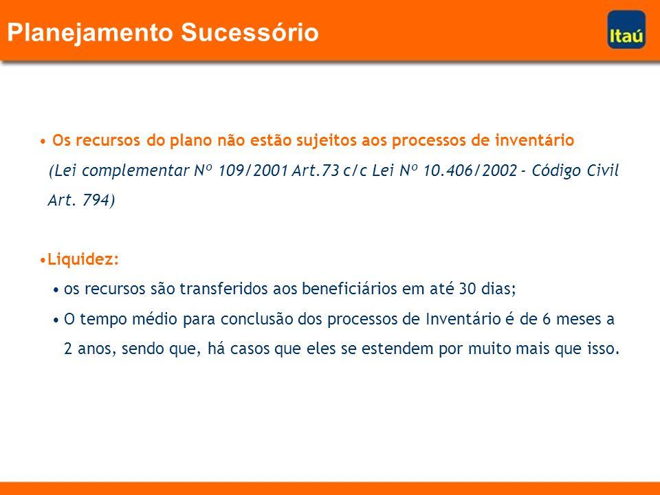 Planejamento Sucessório Os recursos do plano não estão sujeitos aos processos de inventário (Lei complementar Nº 109/2001 Art.73 c/c Lei Nº 10.406/200