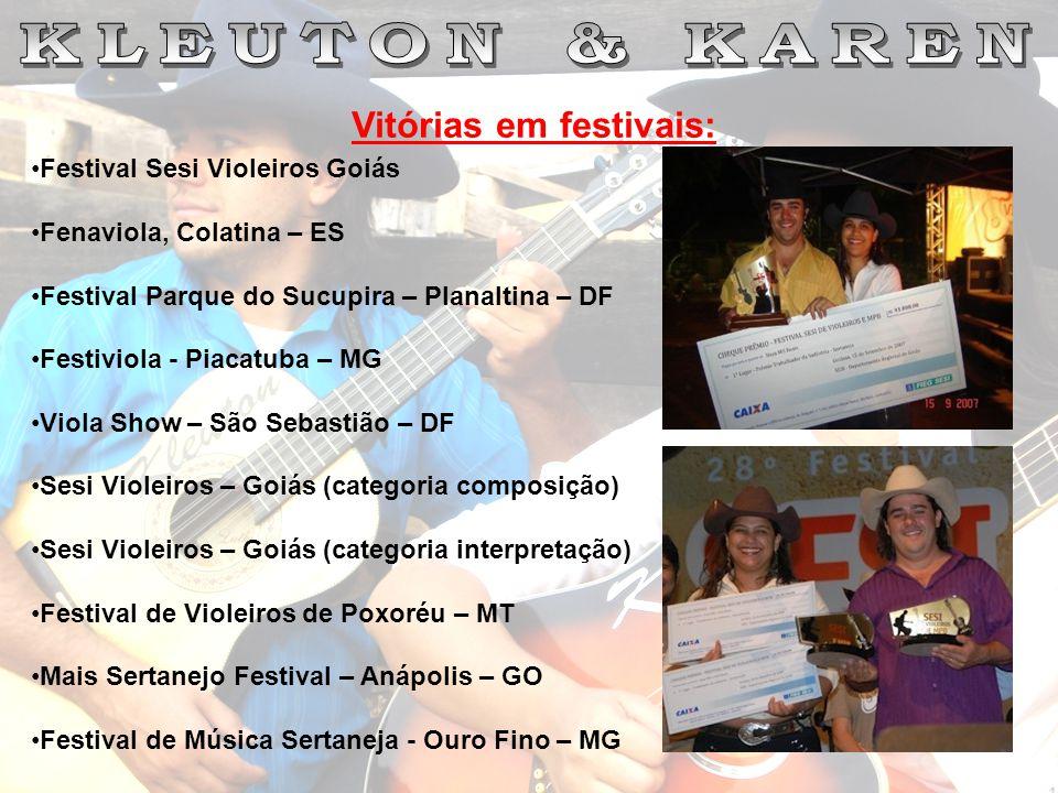 Vitórias em festivais: Festival Sesi Violeiros Goiás Fenaviola, Colatina – ES Festival Parque do Sucupira – Planaltina – DF Festiviola - Piacatuba – M