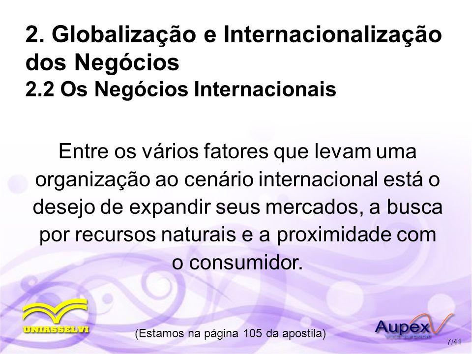 2. Globalização e Internacionalização dos Negócios 2.2 Os Negócios Internacionais Entre os vários fatores que levam uma organização ao cenário interna