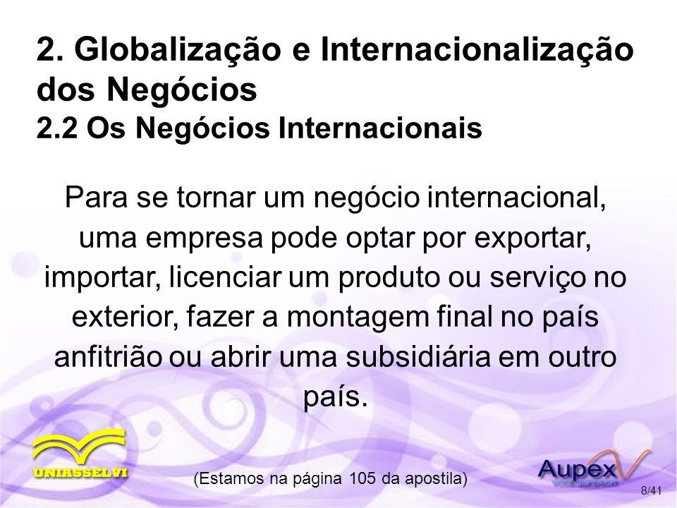 2. Globalização e Internacionalização dos Negócios 2.2 Os Negócios Internacionais Para se tornar um negócio internacional, uma empresa pode optar por