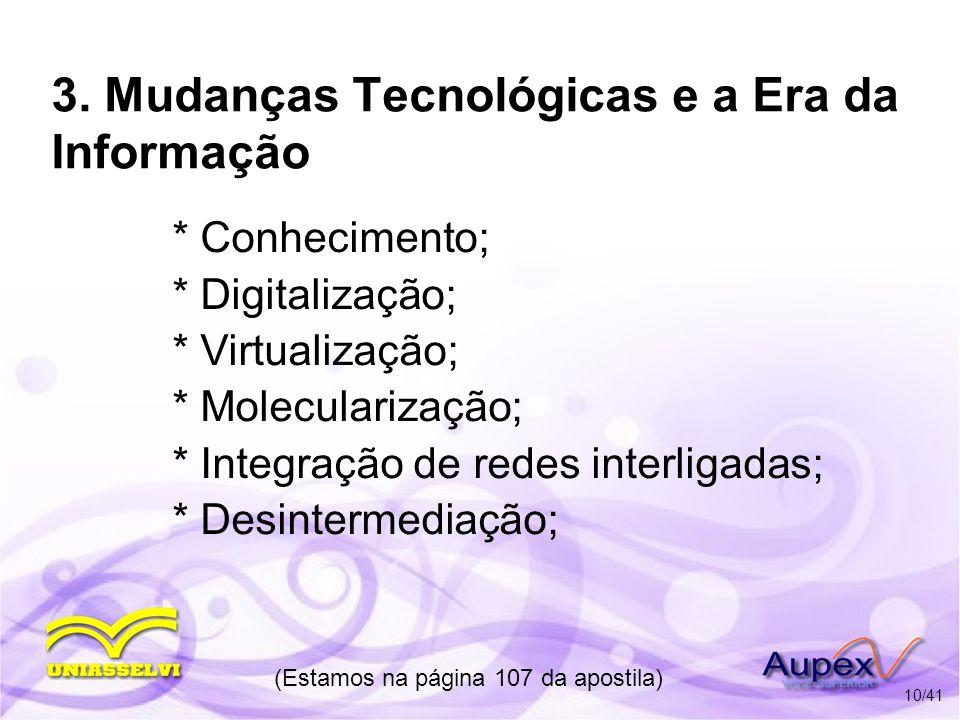 3. Mudanças Tecnológicas e a Era da Informação * Conhecimento; * Digitalização; * Virtualização; * Molecularização; * Integração de redes interligadas