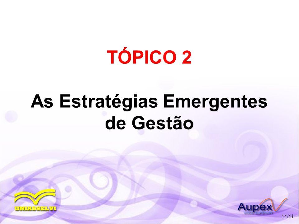 TÓPICO 2 As Estratégias Emergentes de Gestão 14/41