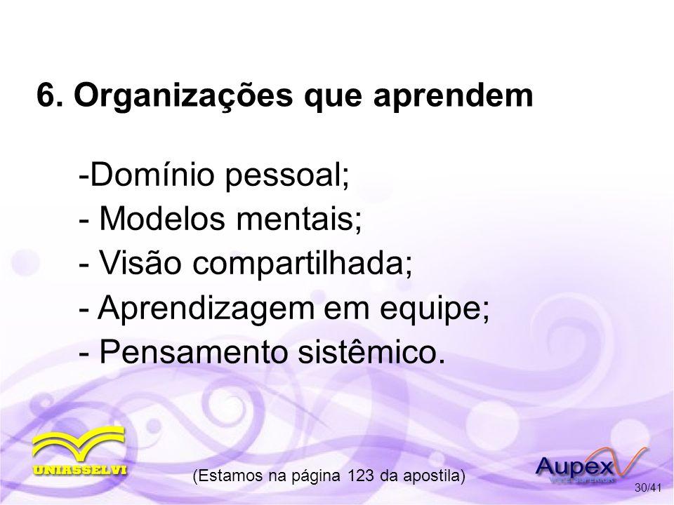6. Organizações que aprendem -Domínio pessoal; - Modelos mentais; - Visão compartilhada; - Aprendizagem em equipe; - Pensamento sistêmico. (Estamos na