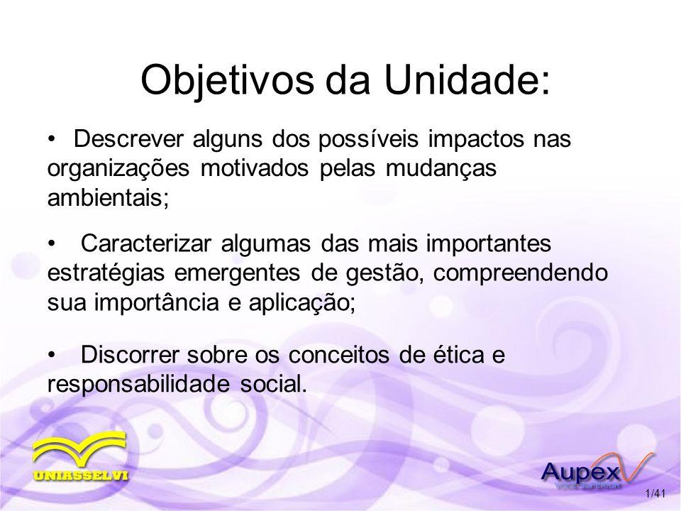 Objetivos da Unidade: Descrever alguns dos possíveis impactos nas organizações motivados pelas mudanças ambientais; Caracterizar algumas das mais impo