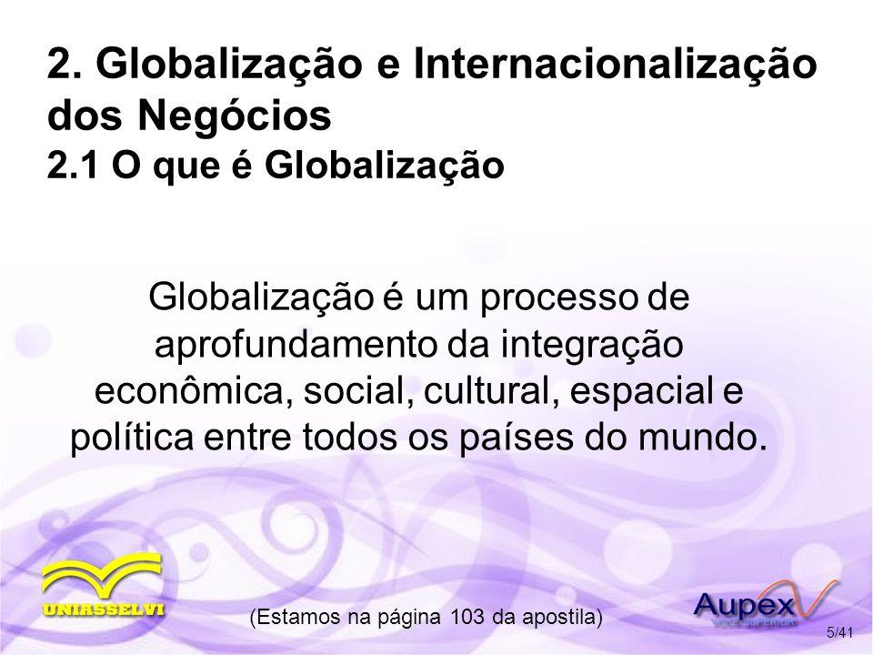 2. Globalização e Internacionalização dos Negócios 2.1 O que é Globalização Globalização é um processo de aprofundamento da integração econômica, soci