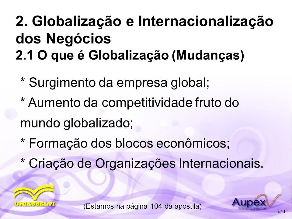 2. Globalização e Internacionalização dos Negócios 2.1 O que é Globalização (Mudanças) * Surgimento da empresa global; * Aumento da competitividade fr