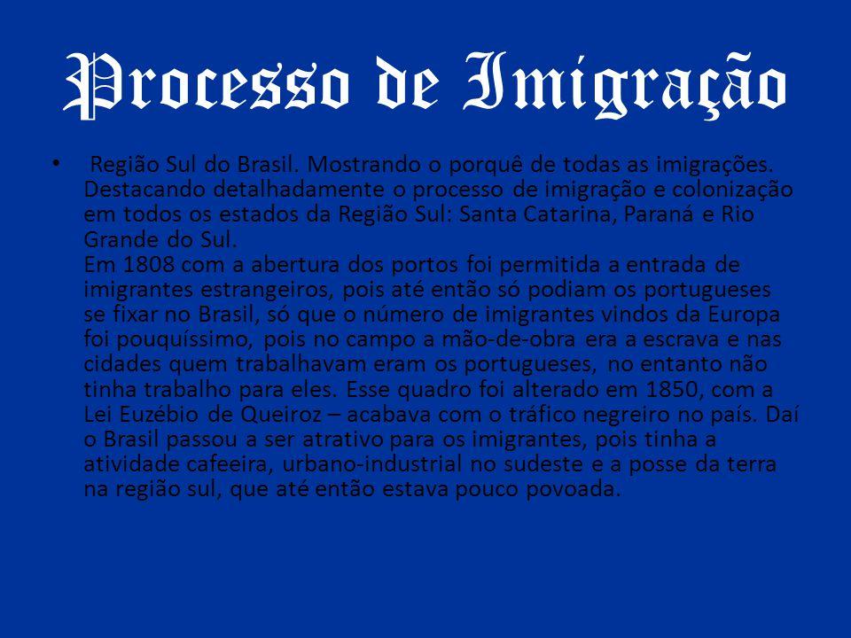 Processo de Imigração Região Sul do Brasil. Mostrando o porquê de todas as imigrações. Destacando detalhadamente o processo de imigração e colonização