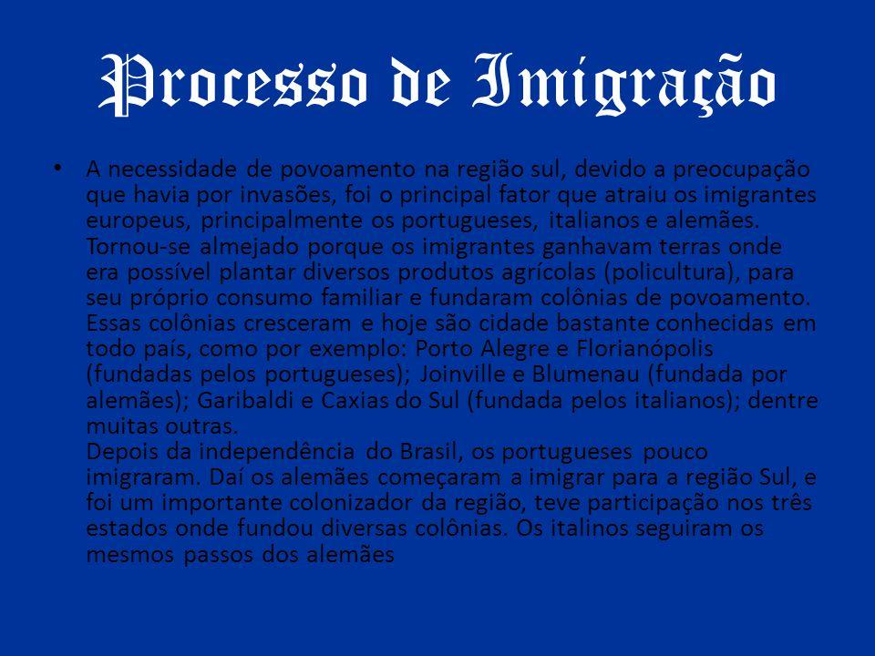 Processo de Imigração A necessidade de povoamento na região sul, devido a preocupação que havia por invasões, foi o principal fator que atraiu os imig