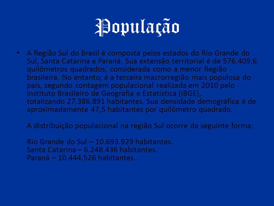 População A Região Sul do Brasil é composta pelos estados do Rio Grande do Sul, Santa Catarina e Paraná. Sua extensão territorial é de 576.409,6 quilô