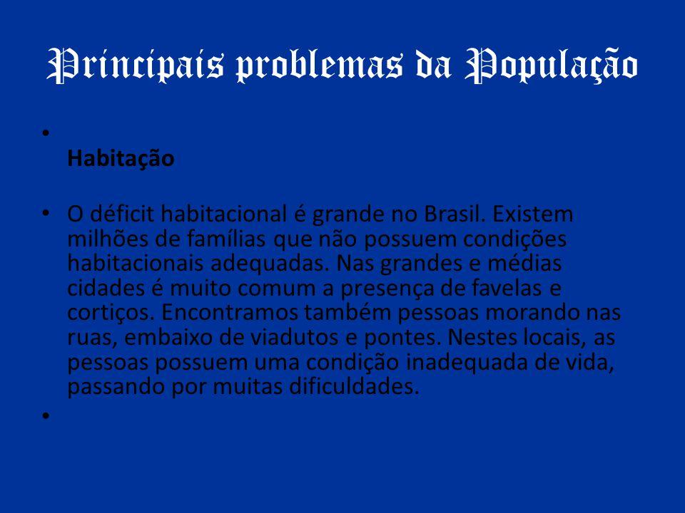 Principais problemas da População Habitação O déficit habitacional é grande no Brasil. Existem milhões de famílias que não possuem condições habitacio