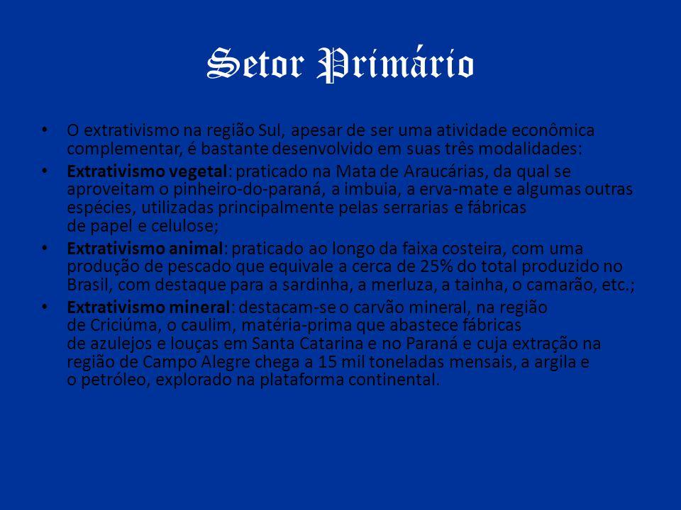 Setor Primário O extrativismo na região Sul, apesar de ser uma atividade econômica complementar, é bastante desenvolvido em suas três modalidades: Ext