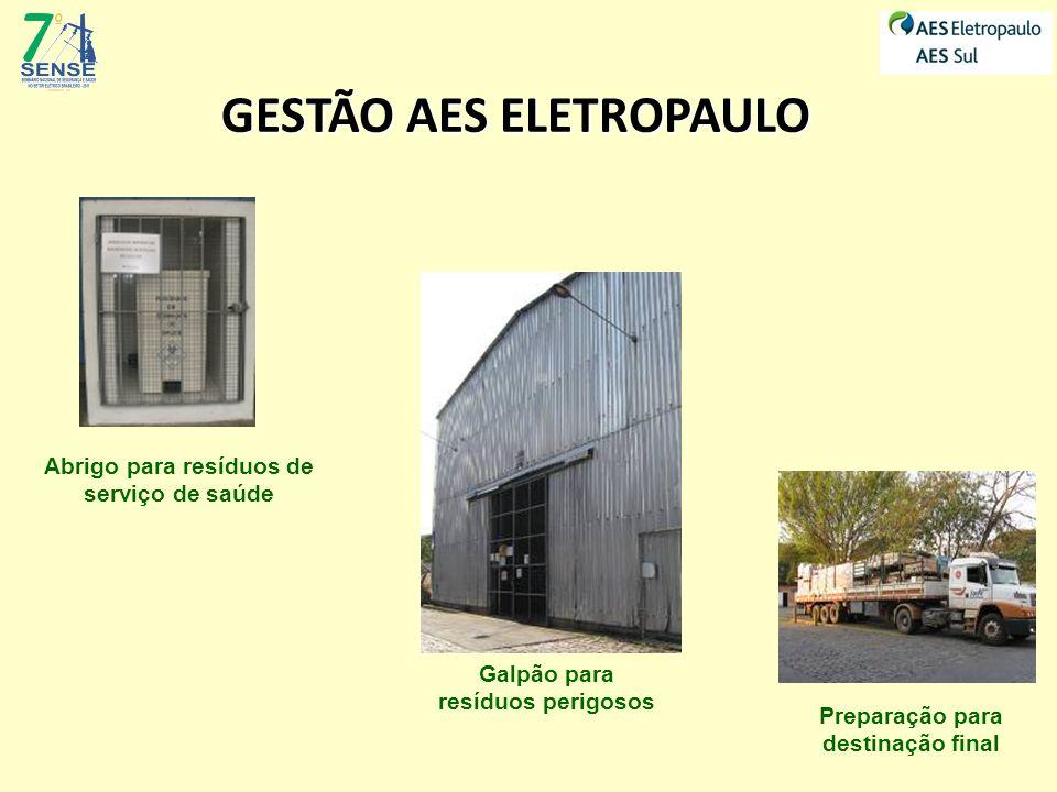 Abrigo para resíduos de serviço de saúde Galpão para resíduos perigosos Preparação para destinação final GESTÃO AES ELETROPAULO
