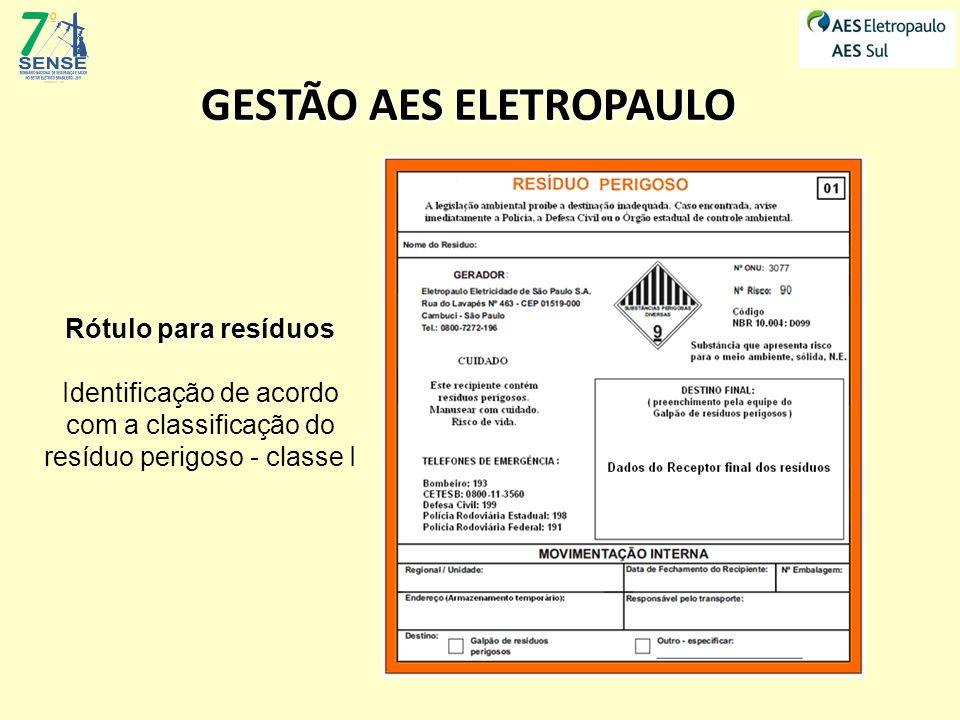 Rótulo para resíduos Identificação de acordo com a classificação do resíduo perigoso - classe I