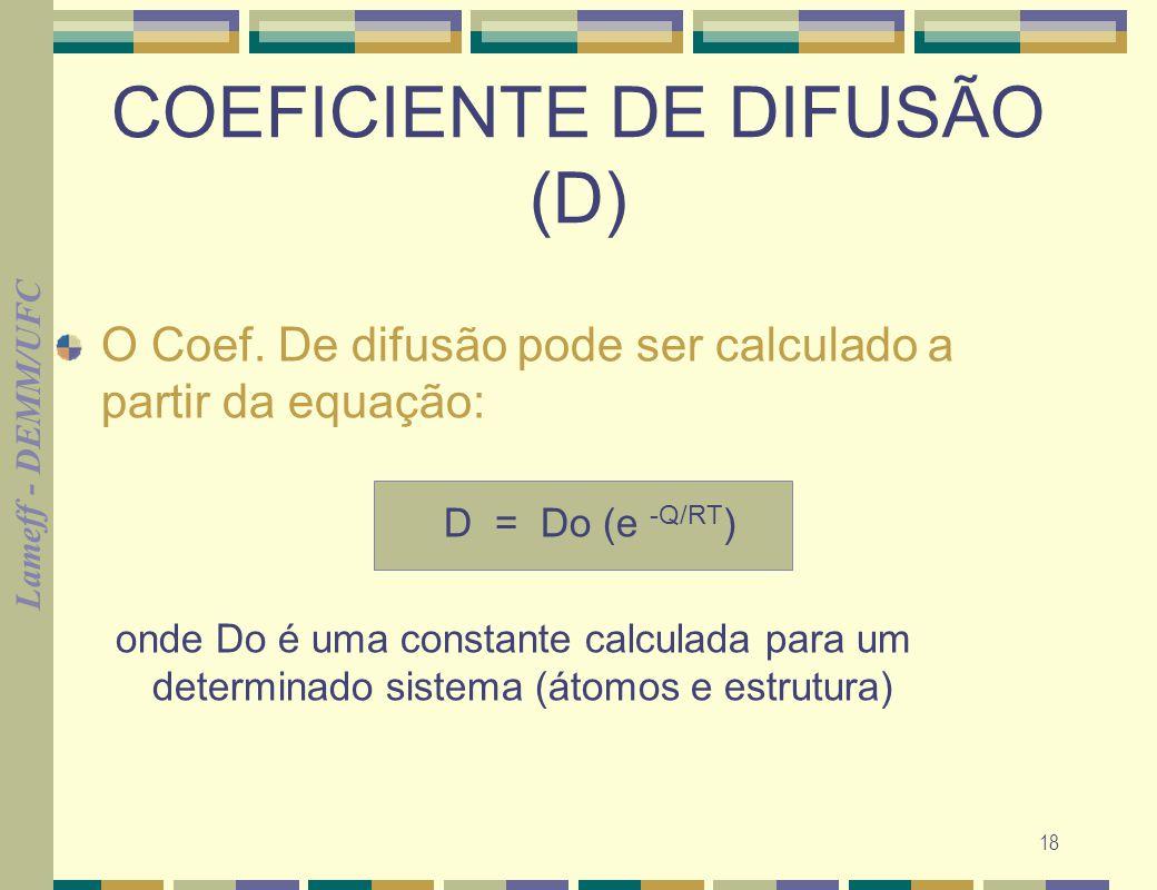 Lameff - DEMM/UFC 18 COEFICIENTE DE DIFUSÃO (D) O Coef. De difusão pode ser calculado a partir da equação: D = Do (e -Q/RT ) onde Do é uma constante c