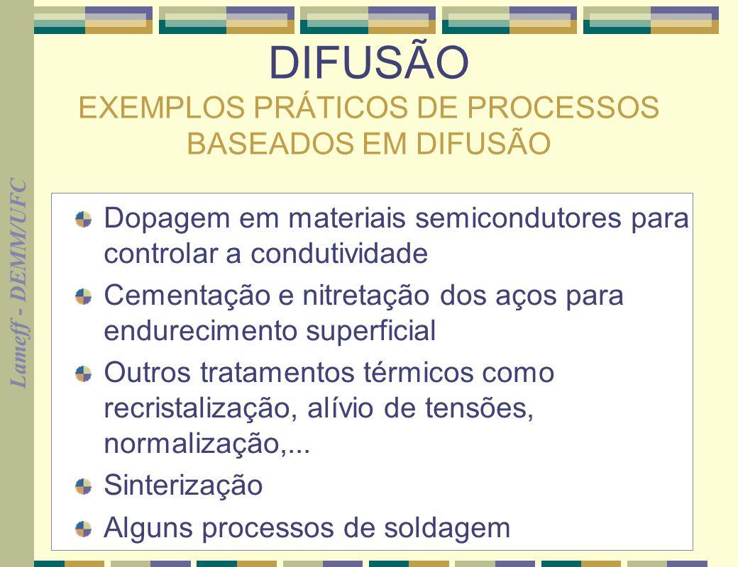 Lameff - DEMM/UFC 2 DIFUSÃO EXEMPLOS PRÁTICOS DE PROCESSOS BASEADOS EM DIFUSÃO Dopagem em materiais semicondutores para controlar a condutividade Ceme