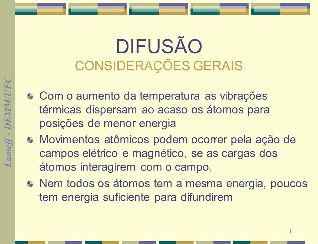 Lameff - DEMM/UFC 3 DIFUSÃO CONSIDERAÇÕES GERAIS Com o aumento da temperatura as vibrações térmicas dispersam ao acaso os átomos para posições de meno