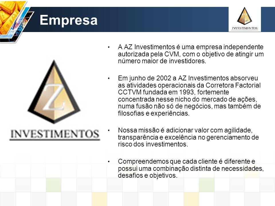 Empresa A AZ Investimentos é uma empresa independente autorizada pela CVM, com o objetivo de atingir um número maior de investidores. Em junho de 2002