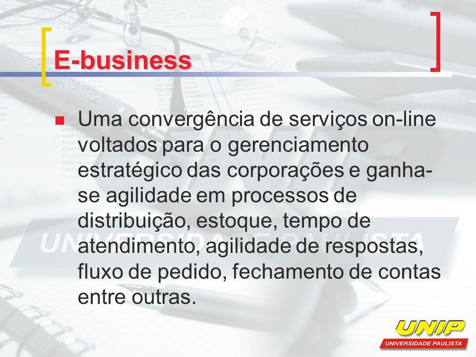 E-business Uma convergência de serviços on-line voltados para o gerenciamento estratégico das corporações e ganha- se agilidade em processos de distribuição, estoque, tempo de atendimento, agilidade de respostas, fluxo de pedido, fechamento de contas entre outras.