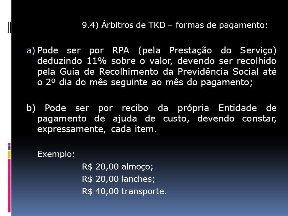 9.4) Árbitros de TKD – formas de pagamento: a) Pode ser por RPA (pela Prestação do Serviço) deduzindo 11% sobre o valor, devendo ser recolhido pela Gu