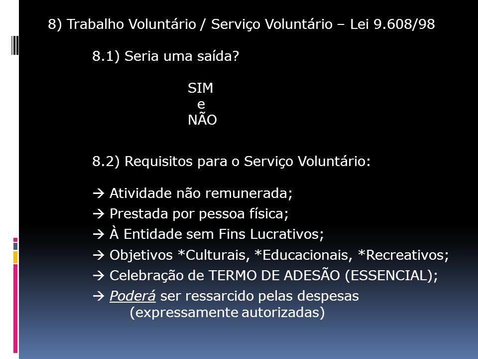 8) Trabalho Voluntário / Serviço Voluntário – Lei 9.608/98 8.1) Seria uma saída? SIM e NÃO 8.2) Requisitos para o Serviço Voluntário: Atividade não re