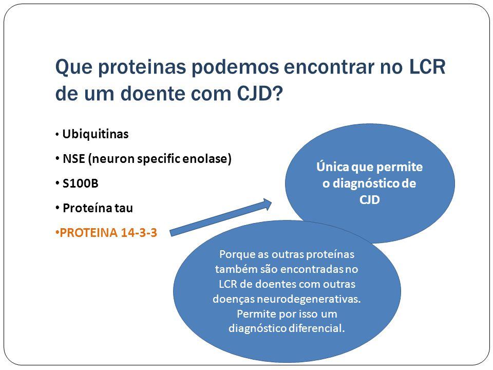 Que proteinas podemos encontrar no LCR de um doente com CJD.