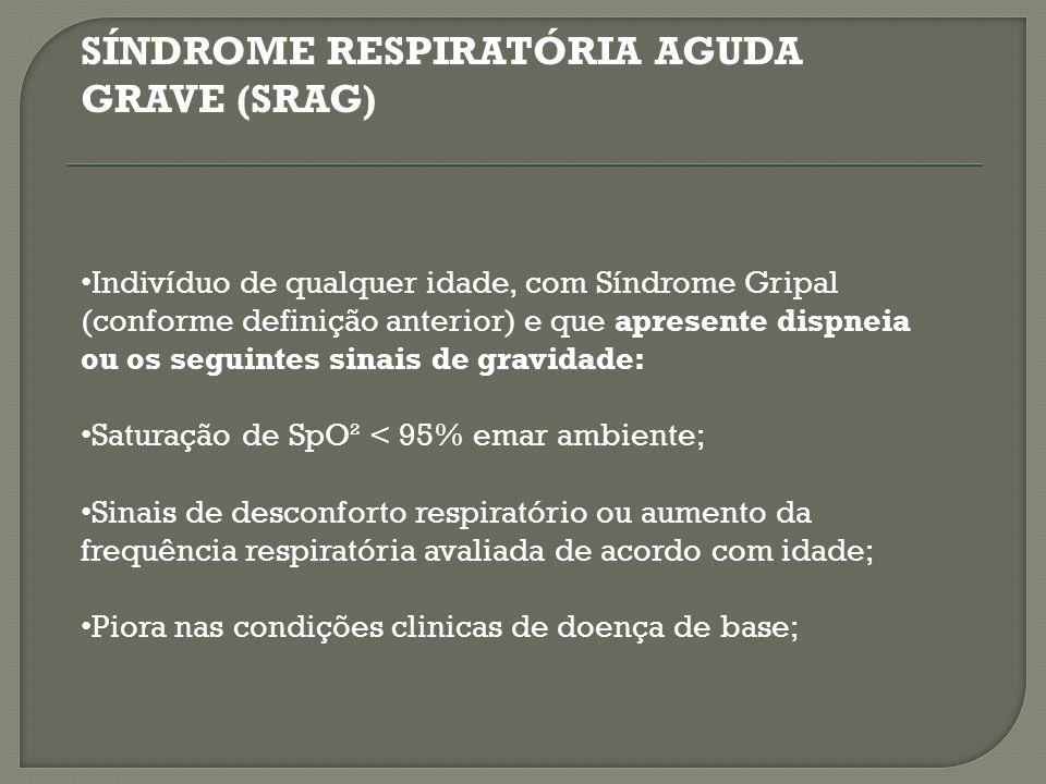 SÍNDROME RESPIRATÓRIA AGUDA GRAVE (SRAG) Hipotensão em relação à pressão arterial habitual do paciente.