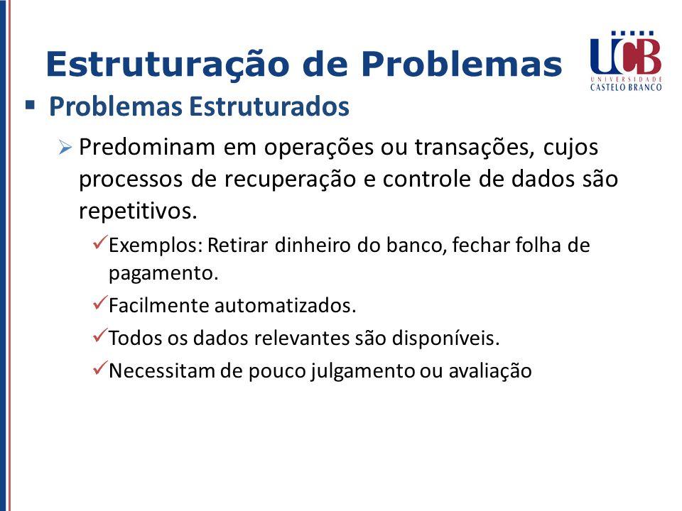Problemas Estruturados Predominam em operações ou transações, cujos processos de recuperação e controle de dados são repetitivos. Exemplos: Retirar di