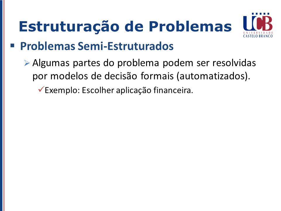 Problemas Semi-Estruturados Algumas partes do problema podem ser resolvidas por modelos de decisão formais (automatizados). Exemplo: Escolher aplicaçã