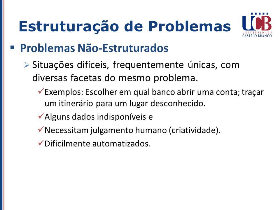 Problemas Não-Estruturados Situações difíceis, frequentemente únicas, com diversas facetas do mesmo problema. Exemplos: Escolher em qual banco abrir u