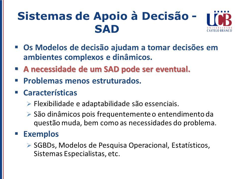 Os Modelos de decisão ajudam a tomar decisões em ambientes complexos e dinâmicos. A necessidade de um SAD pode ser eventual. A necessidade de um SAD p