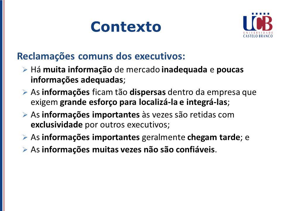 Contexto Reclamações comuns dos executivos: Há muita informação de mercado inadequada e poucas informações adequadas; As informações ficam tão dispers