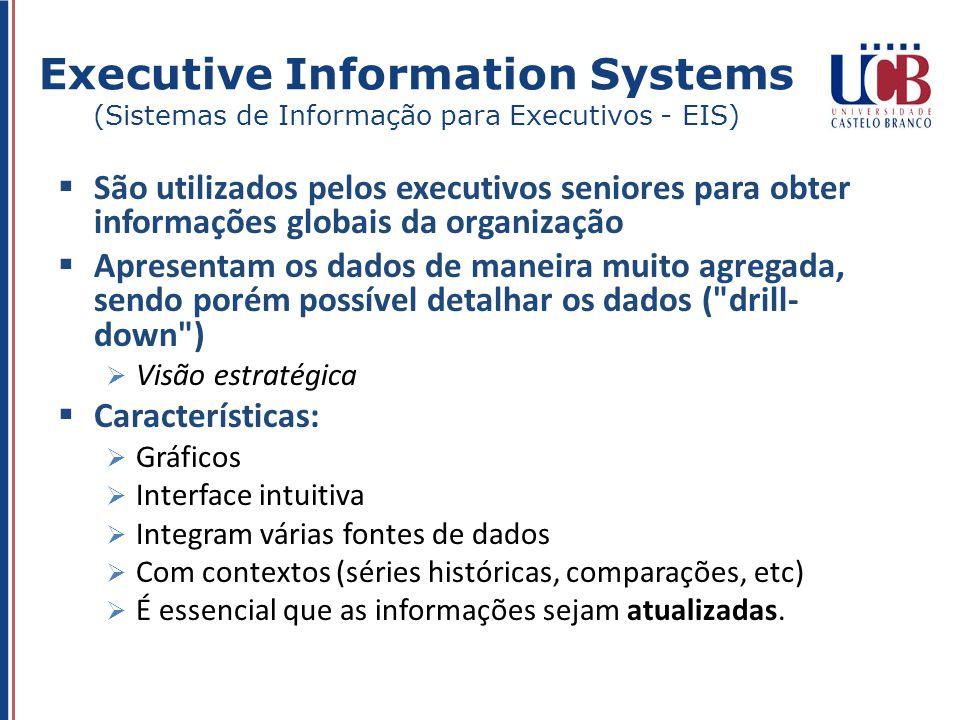 São utilizados pelos executivos seniores para obter informações globais da organização Apresentam os dados de maneira muito agregada, sendo porém poss