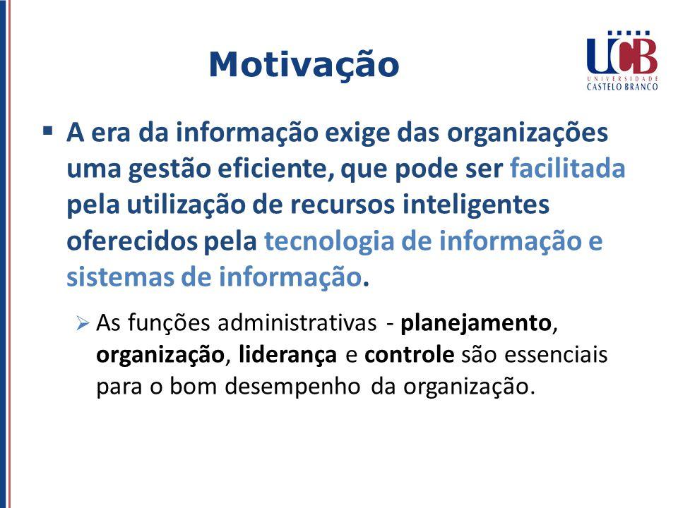 A era da informação exige das organizações uma gestão eficiente, que pode ser facilitada pela utilização de recursos inteligentes oferecidos pela tecn