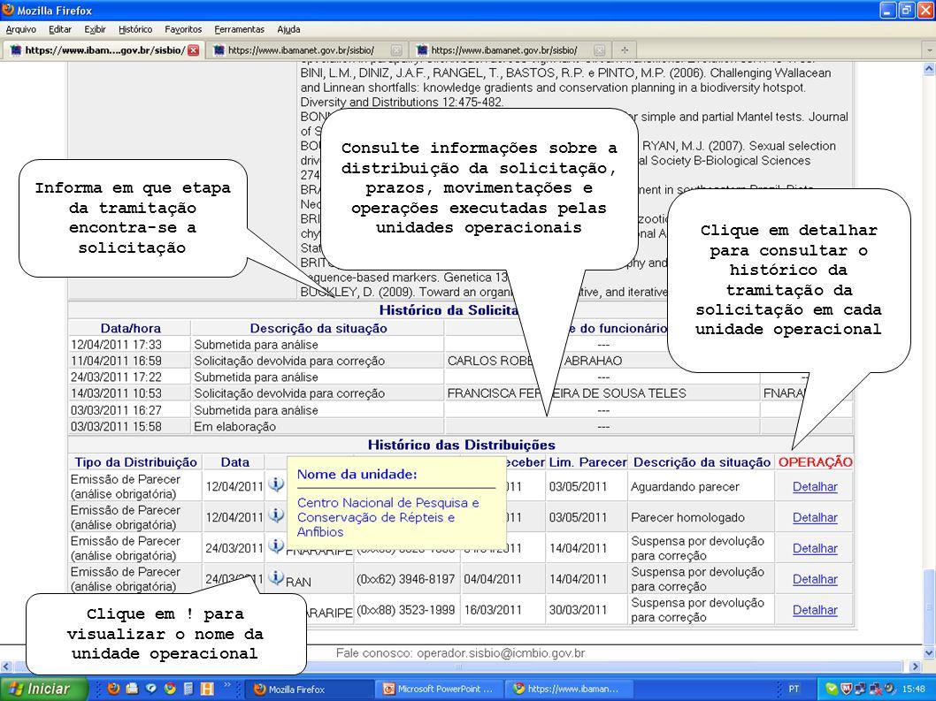 Histórico da tramitação da solicitação na unidade operacional selecionada na tela anterior