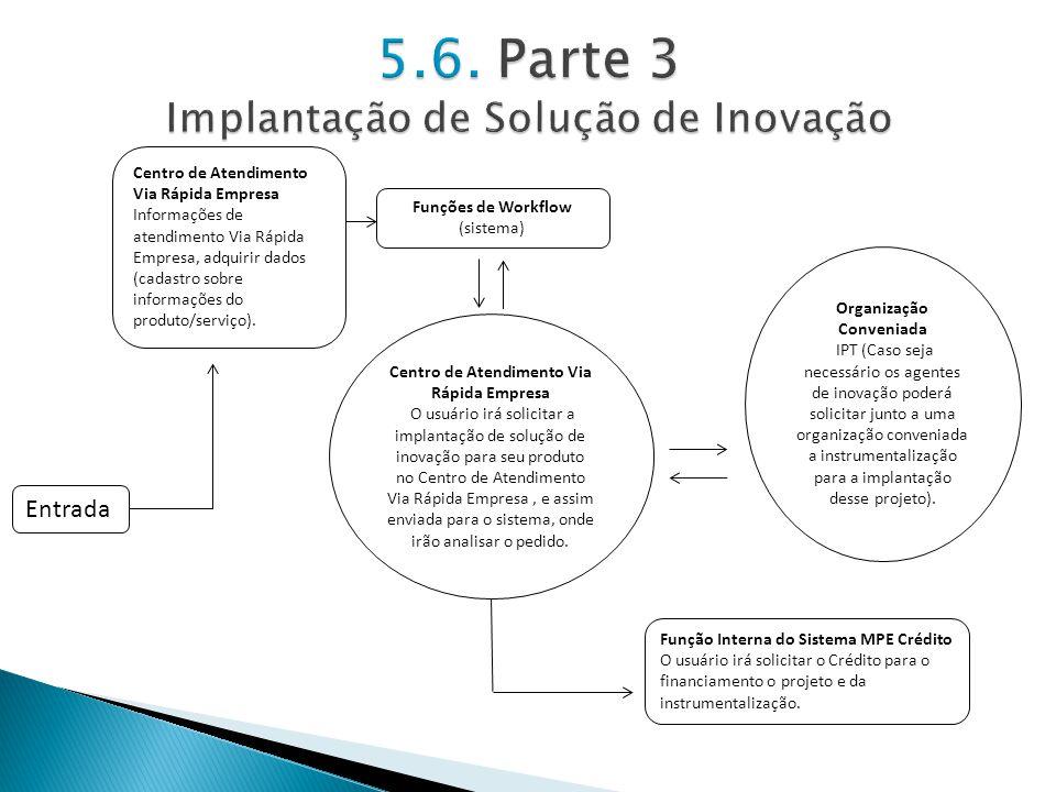 Funções de Workflow (sistema) Organização Conveniada IPT (Caso seja necessário os agentes de inovação poderá solicitar junto a uma organização conveni